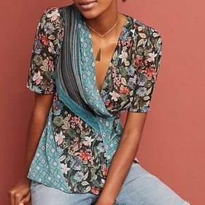 Anthropologie Tiny Lovely Patchwork Wrap Top